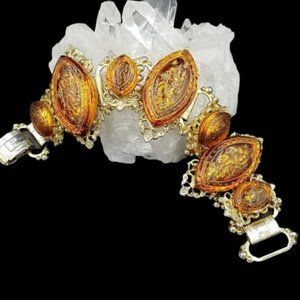 Magnificent Vintage Topaz Molded Glass Bracelet